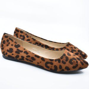 Leopard Pointy Toe Faux Suede Flats